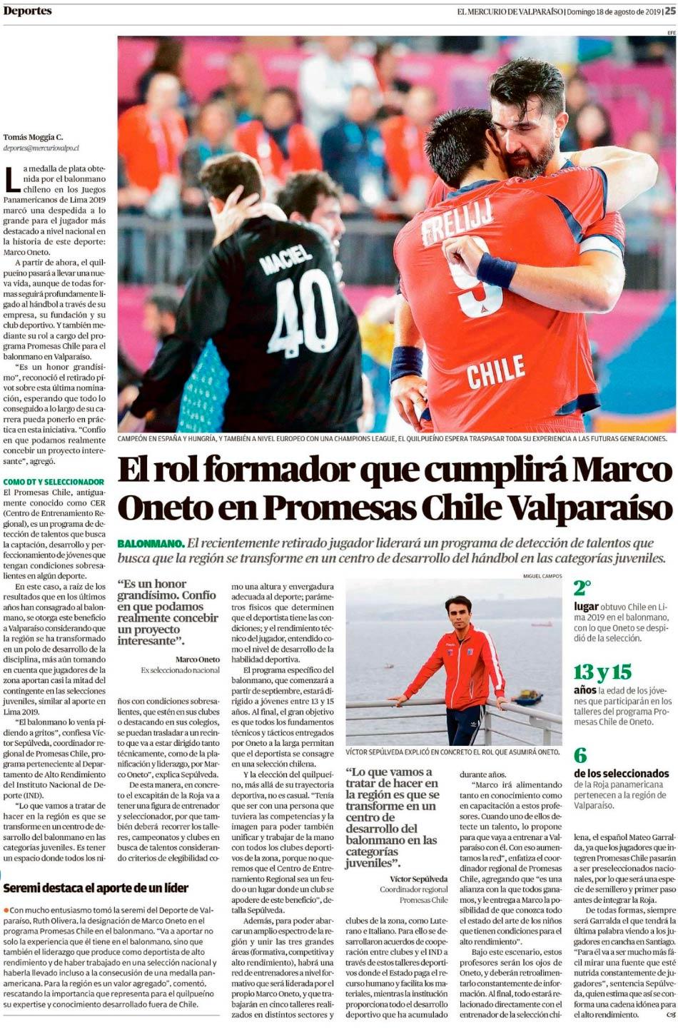 El rol formador que cumplirá Marco Oneto en Promesas Chile Valparaíso
